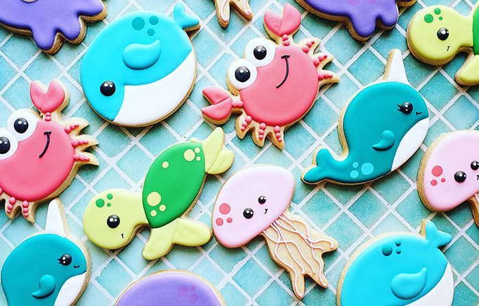 sea creature decorated cookies