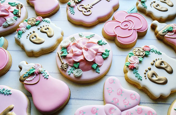 secret garden baby shower cookies